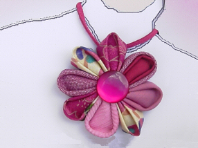 Raspberry Flower Necklace