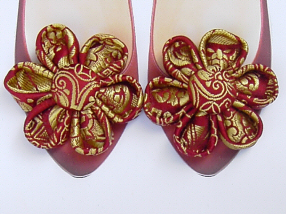 Red Brocade Shoe Clips