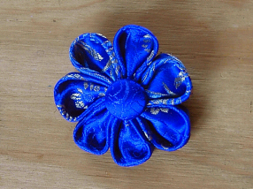 Electric Blue Brocade Brooch