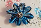 Blue Brocade Brooch