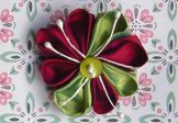 Red-Lime Silk Brooch